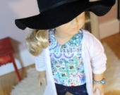 "Black Floppy Hat for American Girl Doll or 18"" Doll"
