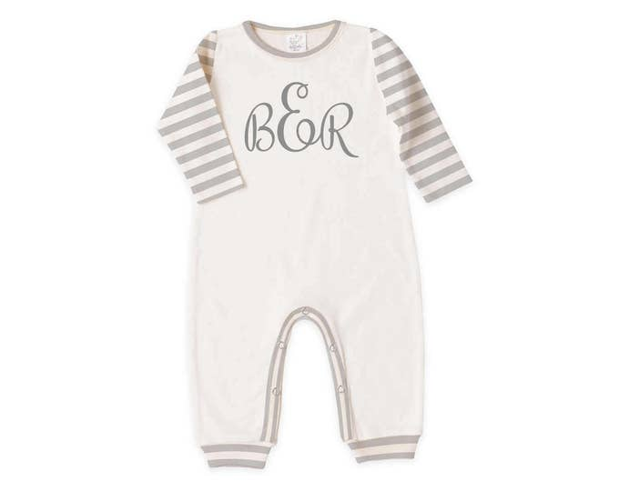 Personalized Newborn Coming Home Outfit, Monogram Newborn Baby Outfit, Tesa Babe, Baby Gray Romper, Welcome Baby Romper, TesaBabe
