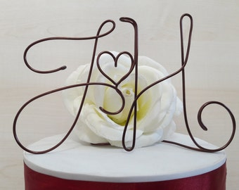 Custom initials, personalized cake topper, wedding cake topper, wire topper, wire initials, original wedding, custom wedding cake