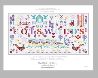 CROSS STITCH PDF Chart Download Cotswolds Sampler by Riverdrift House
