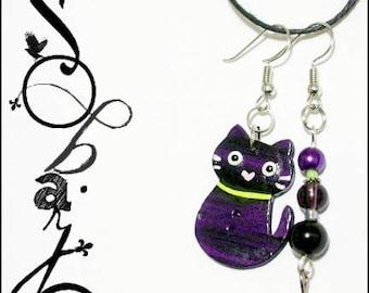 Painted wood by hand - purple + green cat earrings