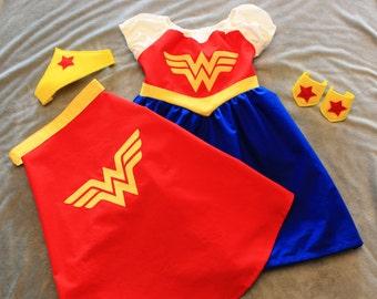 Child Sized Wonder Woman Dress, Cape, Crown and Wrist Cuffs