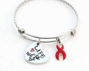 Life is Why | Heart Disease Awareness Bracelet | Hand Stamped Jewelry | AHA | Go Red | Heart Attack Survivor | Heart Warrior | Ribbon Gift