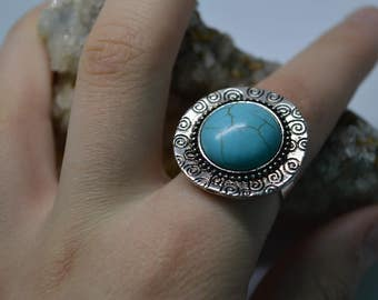 Turquoise Turquonite Adjustable Ring