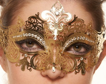 Classic Gold Venetian Masquerade Mask with Clear Rhinestone. K2001GD