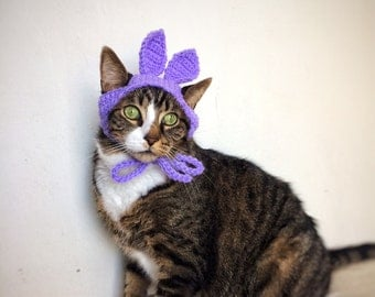 Halloween Costume Easter Bunny Hat for Cat Crochet Purple Violet Costume Hat for Cat Unique Handmade Pet Accessories