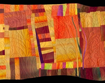 "Fiber Art Quilt Original Abstract ""Aerial Landscape"""