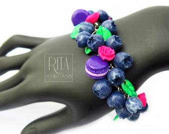 BRACELET - blueberries. Polymer clay FIMO jewelry. Charm bracelet.