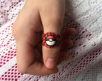 Pokéball Ring - One Size - Red Filigree