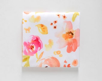 Baby Toddler Modern Fitted Minky Crib Sheet - Peachy Pink Watercolor Flowers, Floral