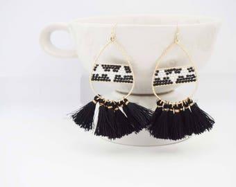 Black and Gold Beaded Tassel Statement Earrings