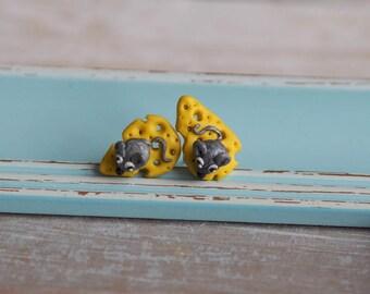 Food Jewelry, Animal Earrings, Yellow Studs, Girl Studs, Miniature Food Earrings, Quirky Earrings, Novelty Earrings, Mouse Jewelry
