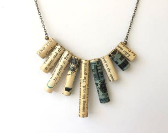 Vintage Book Pages Necklace, Recycled Books Jewelry, Gift for Writer, Gift for Book Club Friends, Gift for Bookworm, Paper Anniversary Gift