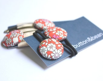 Hair accessories in Liberty of London fabric Snap clips fabric covered button hair ties