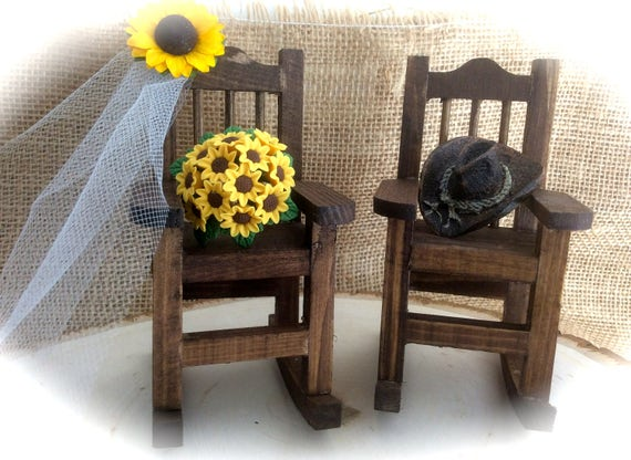 Sunflower Rocking Chair Cake Topper With Sunflower Bouquet/Veil & Cowboy Hat