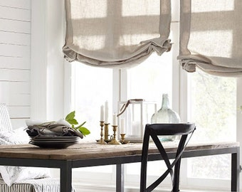 "Relaxed Sheer Roman Shade ""Beige linen"" with chain mechanism, Linen Roman Shades, Window Treatments, Ready to made"