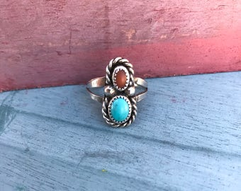 Size 6 Navajo Sleeping Beauty Turquoise Coral Ring 3.3g. Native American Indian Southwestern Old Dead Pawn Tribal
