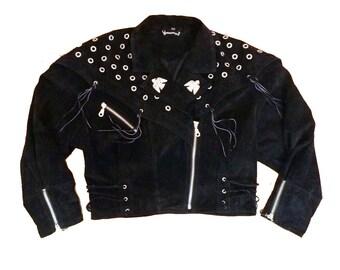 Cropped Black Leather Biker Jacket