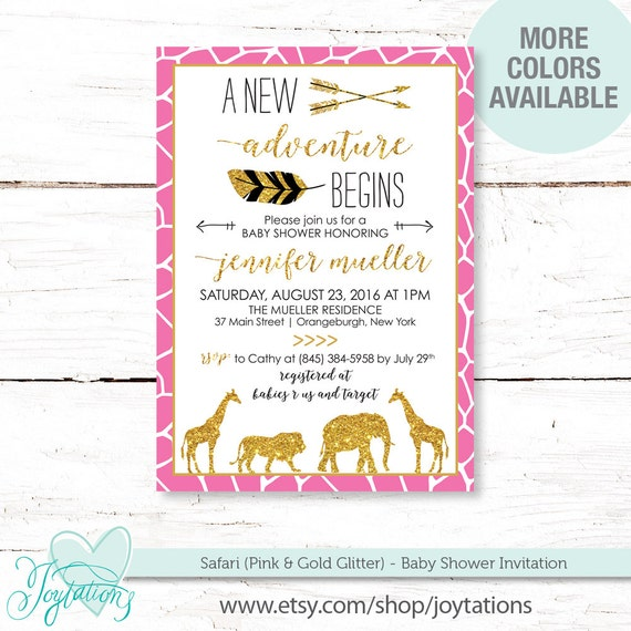 Safari Pink And Gold Glitter Baby Shower Invitation Printable