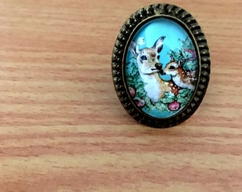 Bambi Deer Mother & daughter Ring, Vintage style, Art Deco, Victorian, Antique Glass ring, Cabochon art print picture, Antique Gold Jewelry