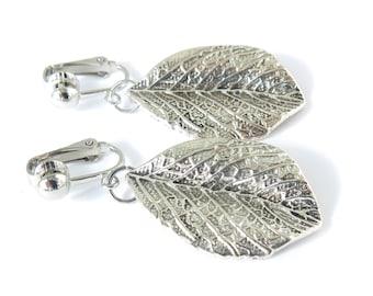 Silver Leaf Clip-On Earrings