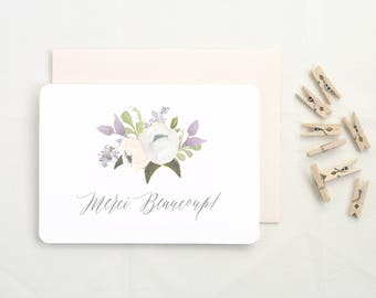 Baby Shower Thank You Cards. Thank You Cards Set. Thank You Cards Wedding. Merci Beaucoup Cards. Merci Cards. Set of Floral Thank You Cards.