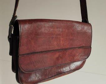 """Vintage """"Napoli"""" Leather Saddle Bag / Brown / Shoulder Leather Bag / Italian bag"""