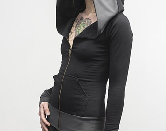 Zip-Up Doomlord Hooded Sweatshirt / Grey Trim Detail, Women's