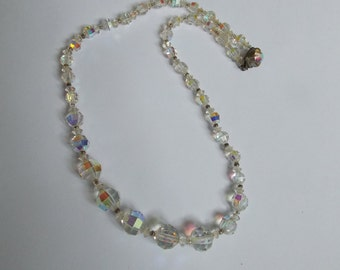 former 1950s Crystal beads necklace old jewel