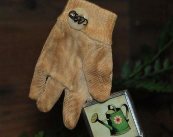 Primitive Aged Garden Glove Ornament w/ Button & Water Can Framed Print