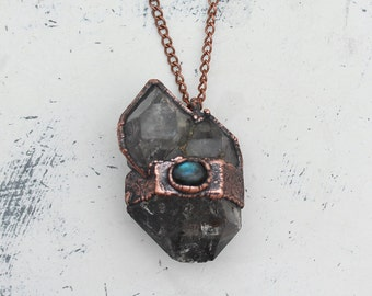 Large Electroformed Dark Quartz Diamond - Labradorite Raw Crystal Cluster Witchy Necklace/Pendant Copper