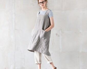 Linen pinafore apron / square cross linen apron / japanese style apron. Washed long linen apron.