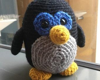 Handmade amigurumi crochet penguin plushie