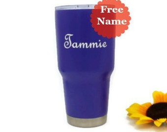 Fathers Day, Gift for Him, Personalized Tumbler, Custom Gift for Dad, Purple Powder Coated, Painted Tumbler, Insulated, 30 oz Tumbler Cup