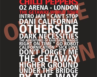 Red Hot Chili Peppers - O2 Arena London 5th & 6th December 2006 - Set List Poster