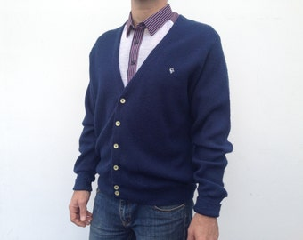 80s vintage Christian Dior Monsieur  cardigan navy blue pearl buttons