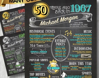 1967 -- 50th Birthday or Anniversary Chalkboard Poster, DIGITAL FILE ONLY, Perfect Gift, Color Customizable, 50 Years Ago Sign