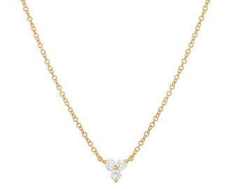 14k gold trio diamond necklace, diamond flower necklace