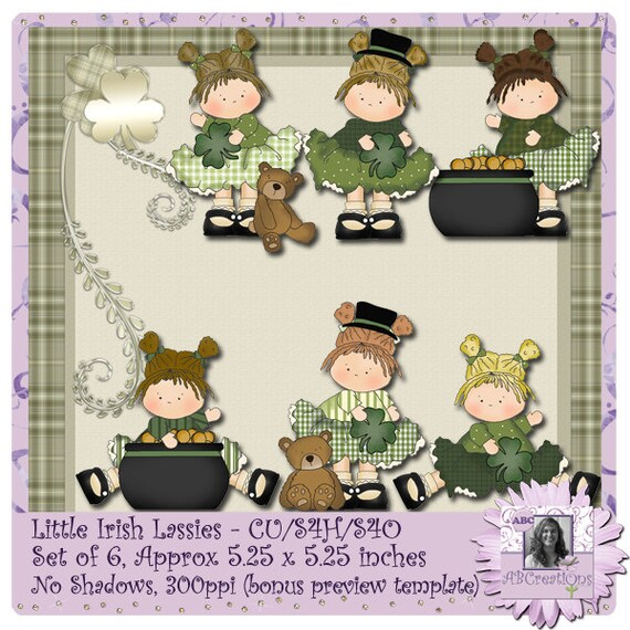 Little Irish Lassies, Clip Art, Stickers, Dolls, Saint Patrick's Day, St. Paddy's Day, St. Patty's Day, digital scrapbooking, digiscrap