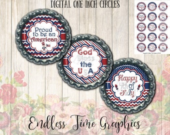 4th of July Bottlecap Images. Patriotic Bottle Cap Images- God Bless the USA, Proud to be an American. Cupcake Topper. Printable Circles 012