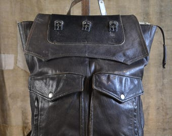 "UPCYCLED LEATHER BACKPACK from military jacket - Made in Italy Eco-friendly style ""Zaino Zip Pelle"""