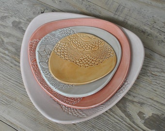 Set of 4 - Handmade Doily stamped Peach Pottery Plates, Serving Platter, Tapas Dishes, Side Dishes, Gift