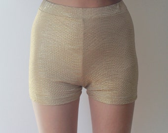 SALE // GOLDEN SHORTS -festivals, high waisted, club kid, cyber, aesthetic, sexy, party, night, shiny, glitter, metallic, bodycon, 90s, 80s-