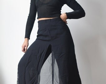 WIDE LEG PANTS -palazzo, transparent, open sides, black, summer, night, elegant, chic, boho, sexy, party, avant garde, minimalist-