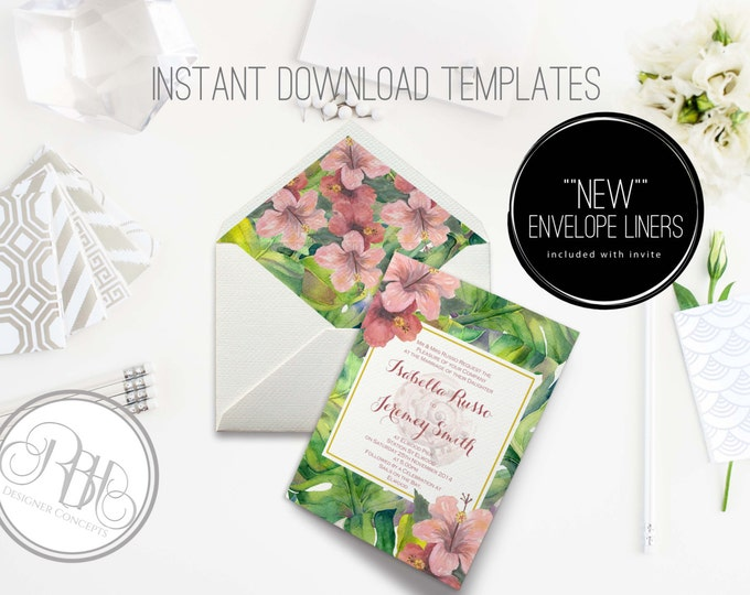 Tropical Watercolor Wedding Invitation/Envelope Liner/INSTANT DOWNLOAD Template/5x7/PDF/Psd Editable Text Only/Watercolor Flowers-Lucinda