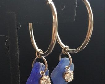 Cobalt Blue Sea Glass Hoop Earrings!