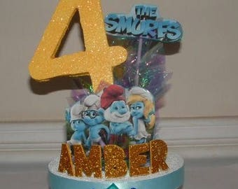 SMURFS 3D Cake Topper/ Centerpiece! Personalized with Your Child's Name & Age!