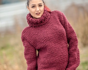 Thick red sweaters | Etsy