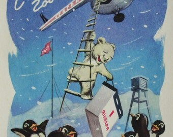 Happy New Year! Vintage Soviet Postcard. Illustrator Znamensky - 1959. USSR Ministry of Communications Publ. Bear, Penguin, Helicopter