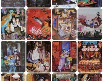The Nutcracker and the Mouse King - E. T. A. Hoffmann - Set of 16 Vintage Soviet Postcards - 1978. Artist G. Dmitrieva. Fairy tale Print